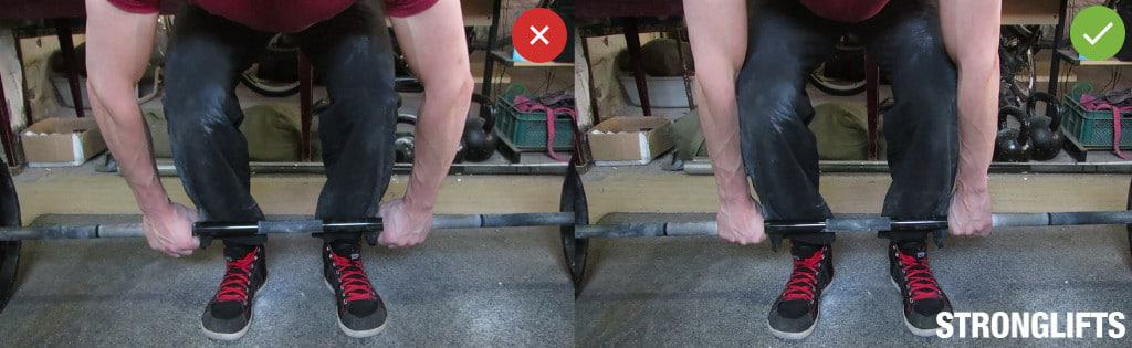 Proper arm position on Deadlifts