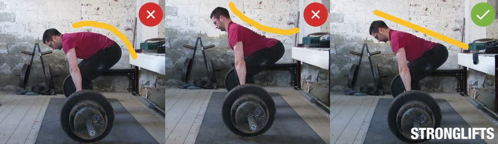 Deadlift with a neutral spine to avoid lower back pain